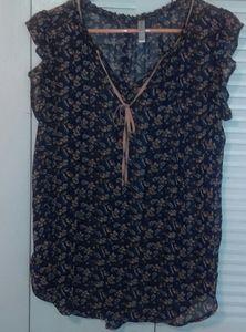 Xhilaration sheer navy floral top